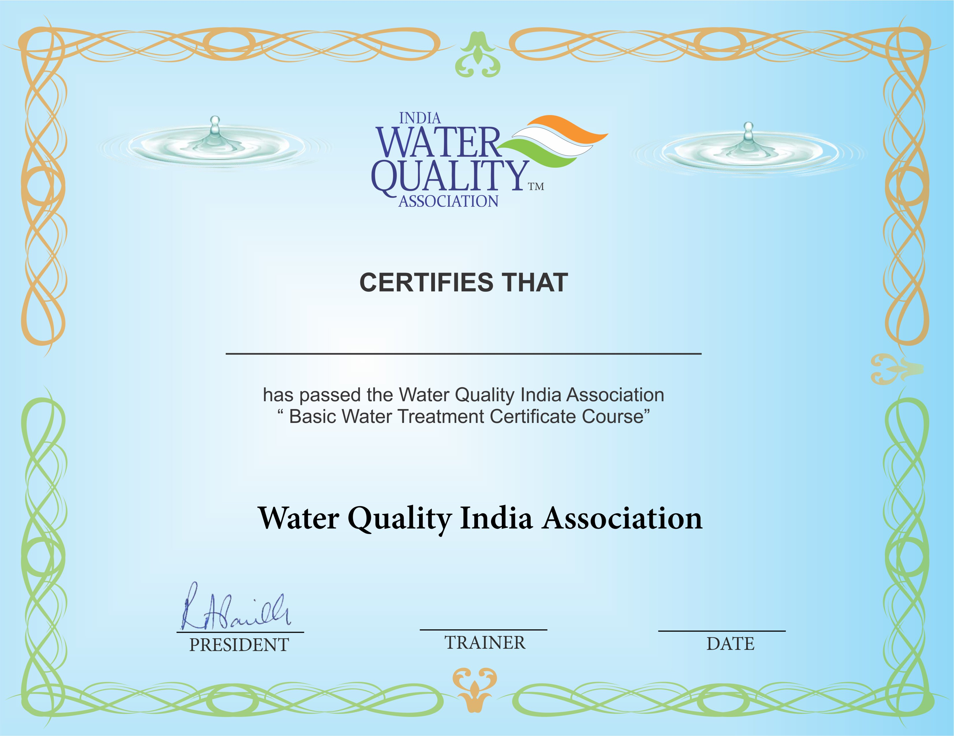 Basic water treatment course wqia this training has been conducted for different companies viz filtrex technologies pvt ltd bajaj electricals ltd ao smith india water products pvt 1betcityfo Choice Image